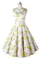 Spring 2015 New Fresh Lemon Fruit Edging Print Vintage 50s Big Swing Dresses Sleeveless Retro Prom Rockabilly Vestidos Femininos