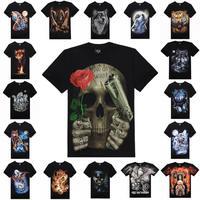 High Quality M-XXXL New Fashion Cotton Brand T Shirt Men 3D Tshirt Clothes Skull Animal Causul T-Shirts Camisetas Masculinas