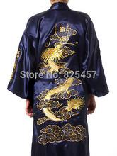 Chinese Men's Robe Embroidery Kimono Bath Gown Dragon men sleepwear 5 colourss Size M --XXL(China (Mainland))