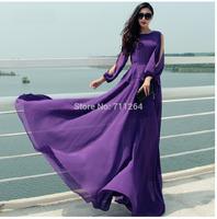 NEW WOMEN FULL SWEEP CHIFFON MAXI DRESS SHEER LONG GOWN CRUISE PURPLE #2