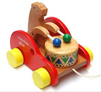 Free shipping ! Classic toys Baby bear drums drag car wooden educational toy rope pull toddler toys for children 1-3 years old