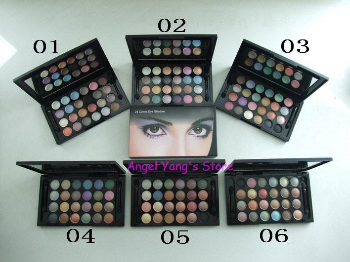 6pcs/lot Free shipping Brand name mc 24 Colors Make Up Eyeshadow Palette Hot sale shining eye shadow with M logo(China (Mainland))