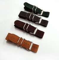 Free shipping 20mm suede leather zulu STYLE MILITAIRE CUIR STRAP LEATHER WRIST WATCH BAND