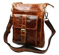 2015 New Vintage Casual 100% Real Genuine Leather Cowhide Men Small Messenger Bag Shoulder Cross Body Ipad MIni Bag Bags For Men