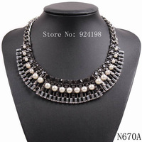 2015 new arrival fashion design z brand chain chunky statement crystal pearl pendant necklace choker for women collar jewelry