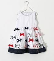 2015 Baby Girl  Brand Bow Dot Hem Back Button Cotton Dresses Elegant Summer White Clothing For Princess 6 pcs/lot, Wholesale