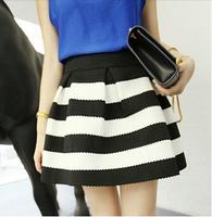 2015 short skirt female black and white striped mini skirt Saias Femininas retro wild women sew expanding Saias free size