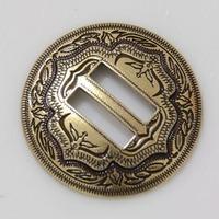 """10pc 1-1/2"""" Slotted Concho 2-Tone Leathercraft Saddle Tack Belt Antique-Brass"""