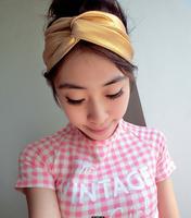 fashion Women elastic spandex gold twist headband turban, custom print available double layer seam inside