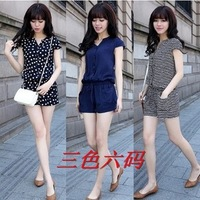 Fashion Summer Women Casual Short Sleeve V neck Elastic Waist Jumpsuits Rompers Blue, Striped Dots size - M,L,XL,XXL,