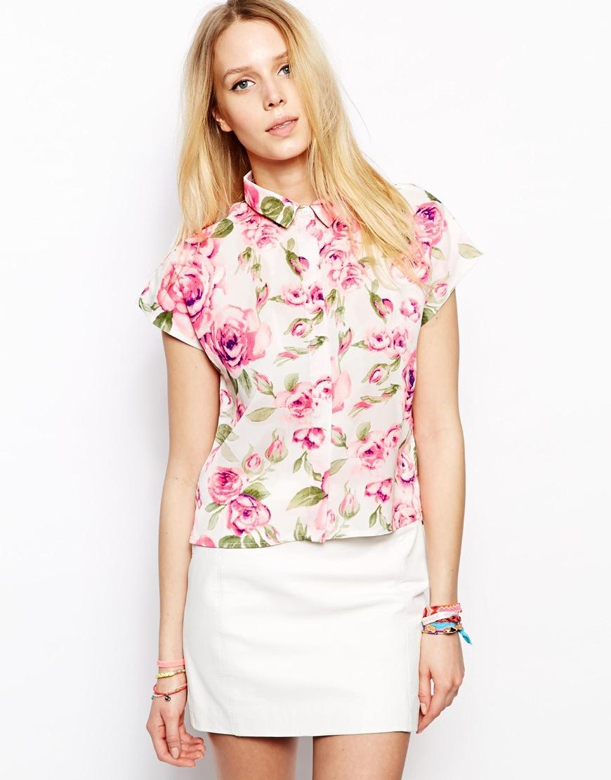 HYD 2015 Fashion new Cap sleeve design lapel Bright white light pink rose printed Chiffon Fabric Blouse(China (Mainland))