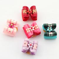 dreambows Handmade Plaid Pattern Ribbon Dog Bow 22045 Pet Dogs Hair Bows Wholesale Free Shipping