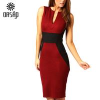 New Women Red Contrast Panel Midi Bodycon Summer  Dress  2015 Ladies Party Dresses Vestido De Festa