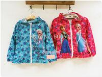 z03503 spring autumn baby girl jackets frozen hooded kids coat children outerwear 2colors