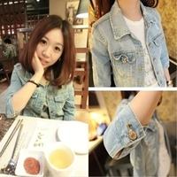 Denim outerwear female long-sleeve denim outerwear female short design spring and autumn coat denim coat outerwear female