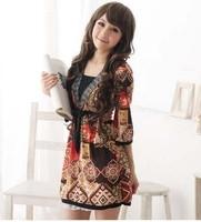 Bohemia fancy V-neck fifth sleeve half sleeve viscose l one-piece dress