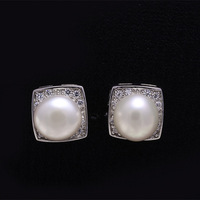 Hot 925 pure silver pearl  pearl earrings square drill white pearl female