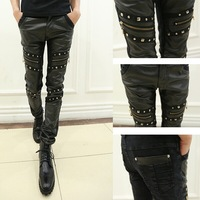 14 male rivet patchwork skinny pants slim paragraph of the trend of the leather pants casual pants