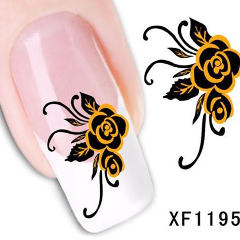 1Pcs Nail Art Water Sticker Nails Beauty Wraps Foil Polish Decals Temporary Tattoos Watermark + Free Shipping (XF1195)(China (Mainland))