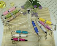 Free shipping Pens New Arrival 1pc/lot 65mm Length Mini Glitter PU leather Pen 10 colors Fashion Retractable Promotional Pen