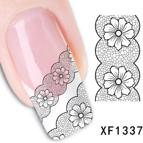 1Pcs Nail Art Water Sticker Nails Beauty Wraps Foil Polish Decals Temporary Tattoos Watermark + Free Shipping (XF1337)(China (Mainland))