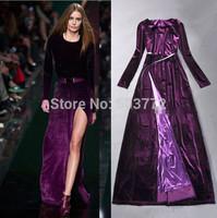 2015 New Spring Women's Full Dress Purple Vintage Sexy Velour Split Long Formal Dress Full Sleeve Elegant Long Evening Dress