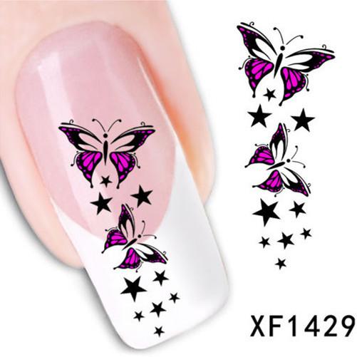 1Pcs Nail Art Water Sticker Nails Beauty Wraps Foil Polish Decals Temporary Tattoos Watermark + Free Shipping (XF1429)(China (Mainland))