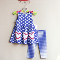 Free shipping children clothing baby girls rare editions blue with the dot  short sleeved top t shirt leggings 2 piece suits set