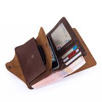 Vintage Handmade 100% Genuine Crazy Horse Leather Cowhide Men Long Wallet Wallets Purse Card Holder For Men With Coin Bag Pocket