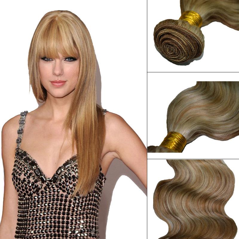 Free Shipping Brazilian Virgem Hair Extension 18/613# Color 100 Grams/piece Body Wave Honey Blonde Machine Weaving Natural Hair(China (Mainland))