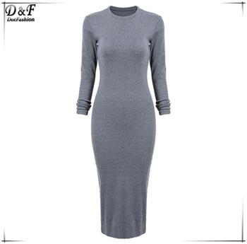Платье облегающее длинный рукав, женское макси серый узкие воротник-хомут задняя ...