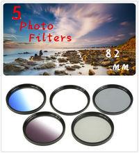 82mm 5 Photo Filter Kits  UV CPL ND4 Grad Color Filter  Lens for Canon Nikon SONY Pentax Camera Lens