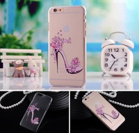 """10pcs/lot Fashion high-heeled shoes Printed Colored Drawing Plastic Back Case For Iphone 6 Plus 5.5"""" Cover Free shipping+film"""