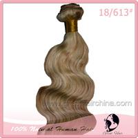 100% Real Natural Brazilian Virgin Hair Extension 100 Grams/piece Color 18/613# Body Wave Machine Hair Weaving, Free Shipping