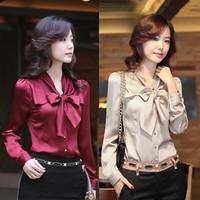 Hot new Korean Women Slim bow lotus leaf collar long-sleeved shirt chiffon shirt shirt big yards wear big yards