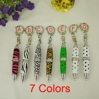 1pc/lot Free shipping Mini Pen 7 colors with Dots Zebra Leopard Pattern Replace Refill Fashion Design Crystal Keychain Pen
