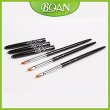 4 BQAN Oblique Nylon Hair Black Metal Handle Brush UV Nail Gel Brush 10pcs lot