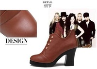 Drop Shipping Deep Mouth Women's Short Boots Pig Leather Thick Heels Fashion Shoes for Women Wholesale Soft Lace-up Ankle Boots