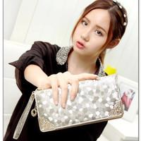 2015 New Gold / Silver /Black color Korean style Evening Long Stone Clutch Wallets PU fashoin zipper women money bag