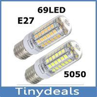 Chandelier SMD 5050 9w 12W 15W E27 led bulb lamp 220V Warm white white,30LED 48LED 69LED E27 5050SMD Led candle corn light ~v