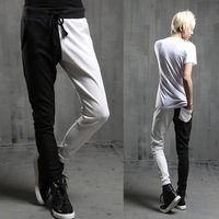 Color block 2014 male casual pants slim personality black and white patchwork skinny pants trousers