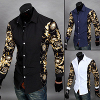 Hot Fashion Korean Patchwork Casual Dress Mens Long Sleeve Shirt Slim Fit Man Shirts Chemise Homme Mens Shirts 3 Colors M-XXL
