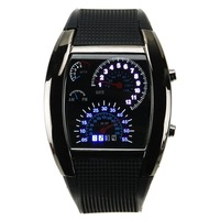 New Sports Blue & White Flash LED Digital Watch Car Speed Meter Dial Gift Watch
