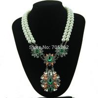 2015 New Fashion cyrstal Teardrop Pendants pearl chain Statement Necklace for women