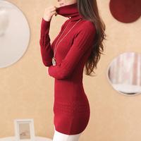 Federal sheep 2014 outerwear medium-long slim twist basic turtleneck sweater thickening female