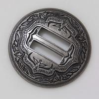"""10pc 1-1/2"""" (38 mm) Slotted Concho 2-Tone Leathercraft Saddle Tack Belt Antique-Sil"""