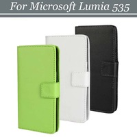 100pcs/lot Free Shipping 2 Credit Card Slots Money Clip Wallet Leather Case with Stand for Microsoft Lumia 535