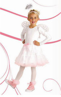 White Pink Trim Fantasia Fancy Tulle Skirt Vestido +Wings + Band Halloween Carnival Little Angel Cosplay Costumes for Kids Girls