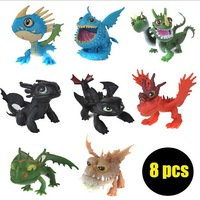 Cheapest Toy Set! 8 Pcs Full Set Movie How to Train Your Dragon 2 PVC Action Figures, Night Fury Toothless Dragon Toys For Boy