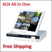 "ALL IN ONE DVR 4 CANALI 4CH CON LCD 10"" AUDIO VIDEO LAN VGA USB H.264 ALLARMI AS-TDVR1004"